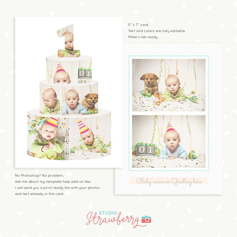 First Birthday Card Template Cake Collage Smash One Year Baby Invitations