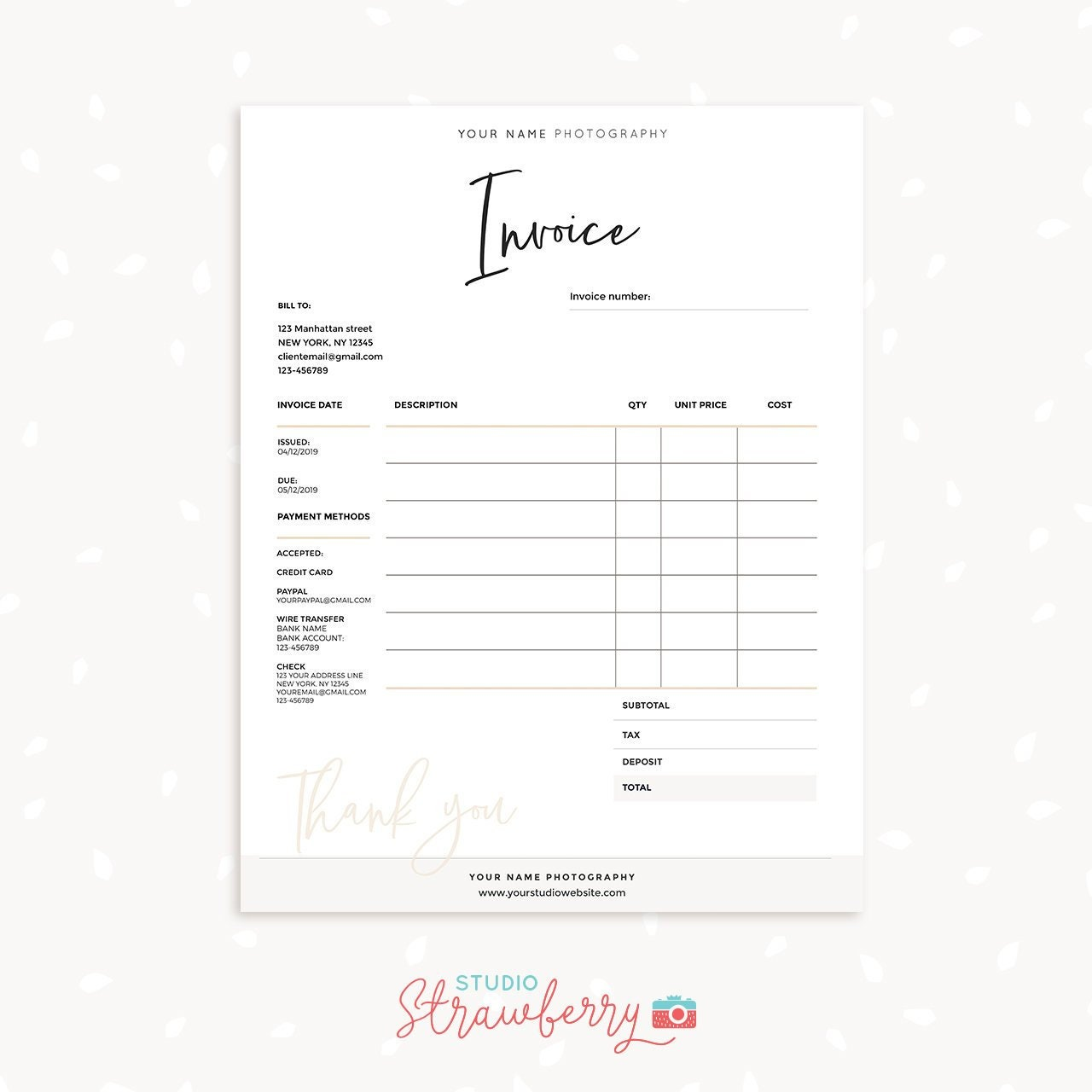 Invoice Template Printable Invoice Photography Invoice Etsy