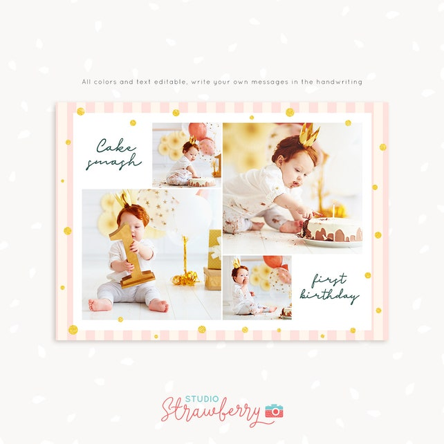 Cake Smash Photo Collage Template First Birthday Mini Session Photography Photoshop PSD