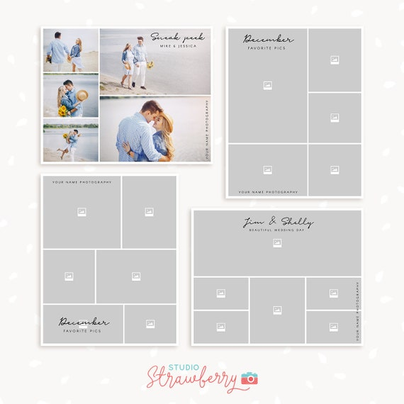 Blog board template set of 4, Collage Template Photoshop, Storyboards, Blog collage, moodboards, blog boards, sneak peek photo collages