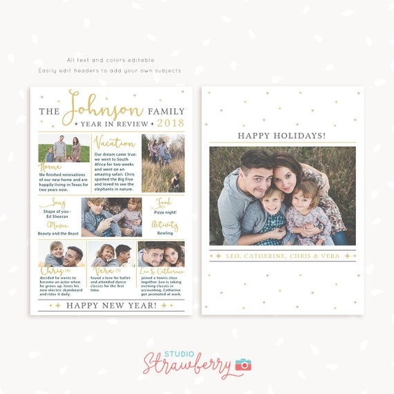 Year In Review Christmas Card Template 2018 Overview Year In Etsy