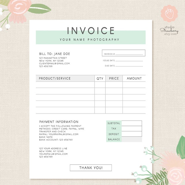 Invoice template Photography invoice Business invoice | Etsy