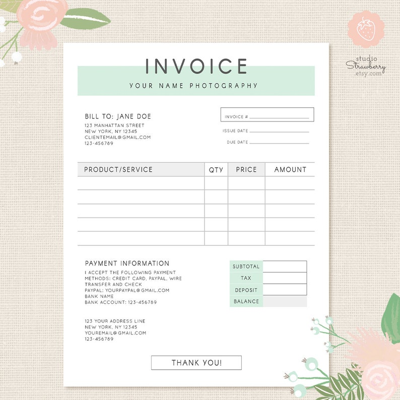 Business Invoice | Invoice Template Photography Invoice Business Invoice Etsy