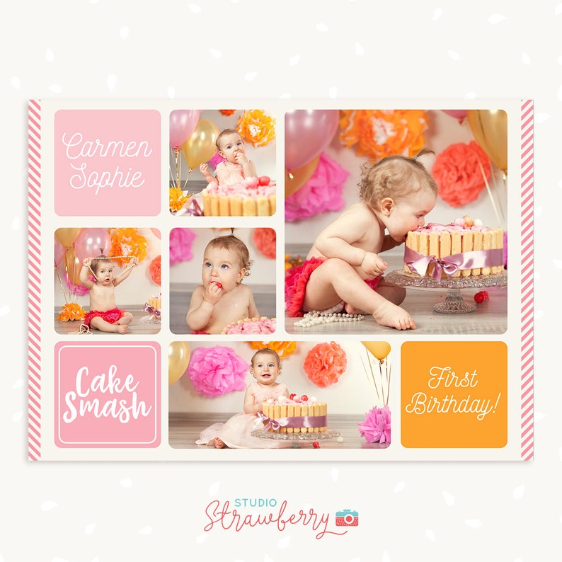 Cake Smash Photo Collage Template First Birthday