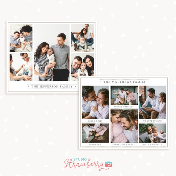 Family collage template photoshop, 8x10 inch collage card, Storyboard template bundle, blog board template, Photography collage template
