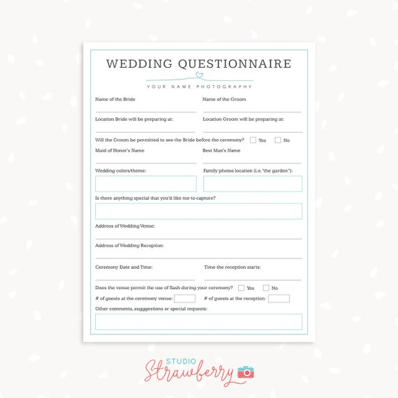 Wedding photography questionnaire template Photography Forms | Etsy