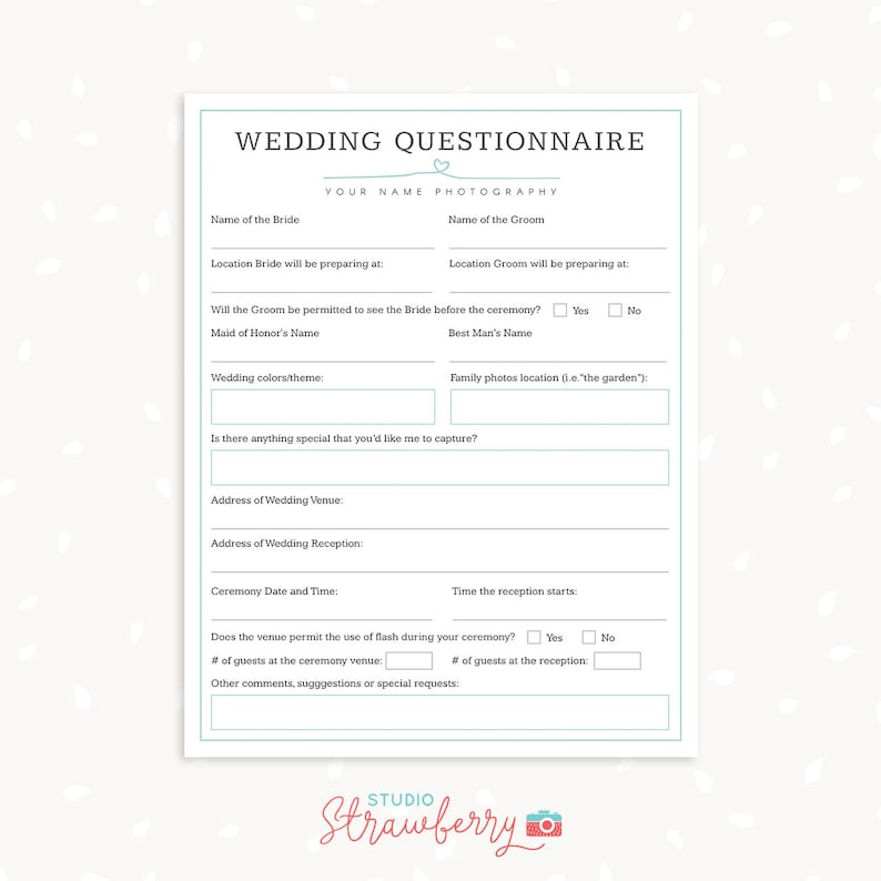 Wedding photography questionnaire template, Photography Forms, Wedding  Booking Form For Photographer