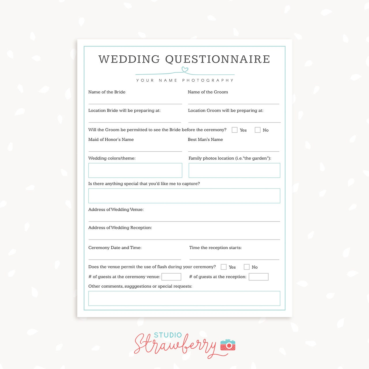 Wedding photography questionnaire template Photography Forms