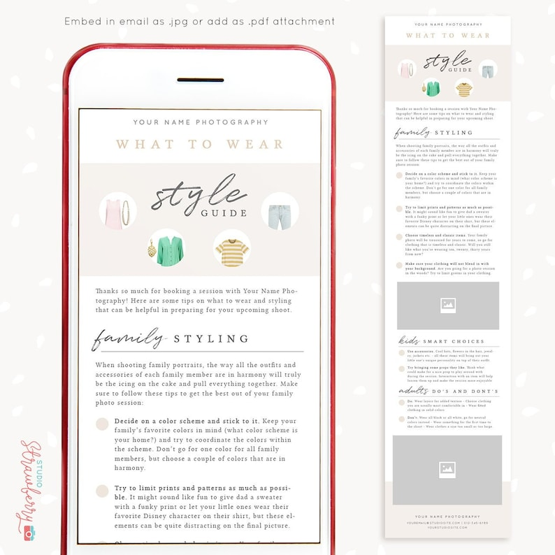 Style guide for photographers, Email Newsletter Template, Photography Style  Guide Template, What to wear guide photography, Wardrobe tips