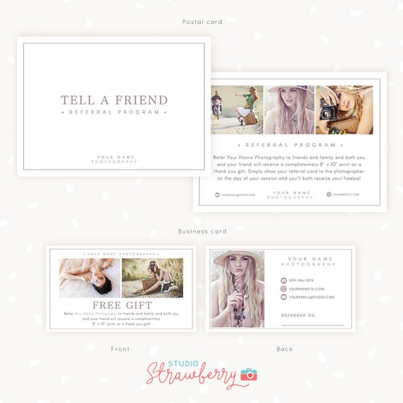Referral Cards Referral Card Template Referral Program Tell A Friend Referral Photoshop Template Word Of Mouth Marketing Board Psd