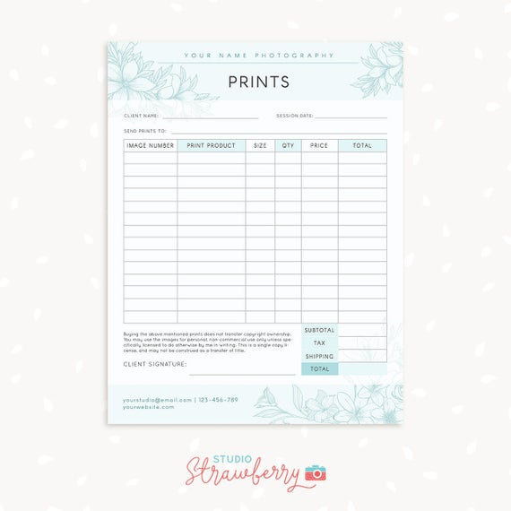 Order Form Template Floral Photography Order Form Etsy