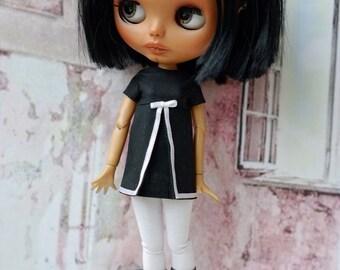 Blythe dress,black with white detail for Blythe doll or similar bodies