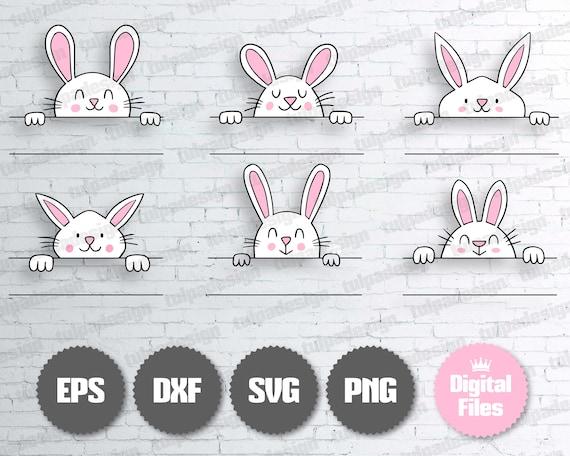 Bunny Monogram Svg, Rabbits Svg, Rabbit Monogram Svg, Easter Egg Hunter, Bunny Split Monogram Svg, Peeking Bunny, Easter Bunnies, Vector Cut