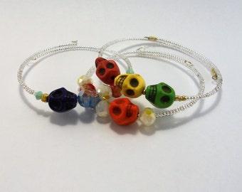 Skull memory wire bracelets
