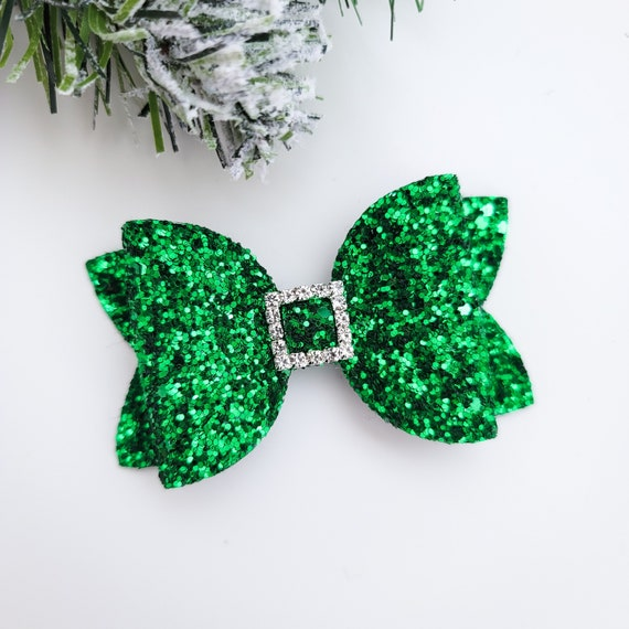 green bow nylon headband or clip Sparkle glitter