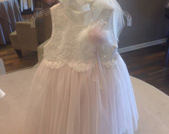 Pale Pink Tulle Overlay With Alencon Lace Boddess and Trim