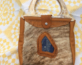 Sodalite Inlay Leather Tote Bag