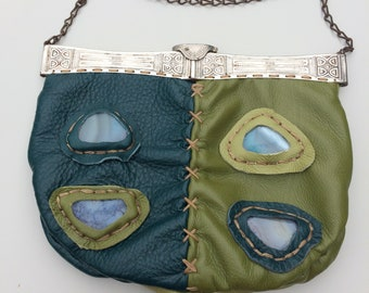 Leather Evening Bag Inlay Upcycle Victorian