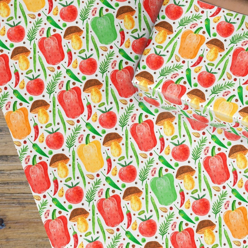 vegetable eating food paper allotment gift smallholder present cooking paper decopatch paper ingredi Soup wrapping paper gardening gift