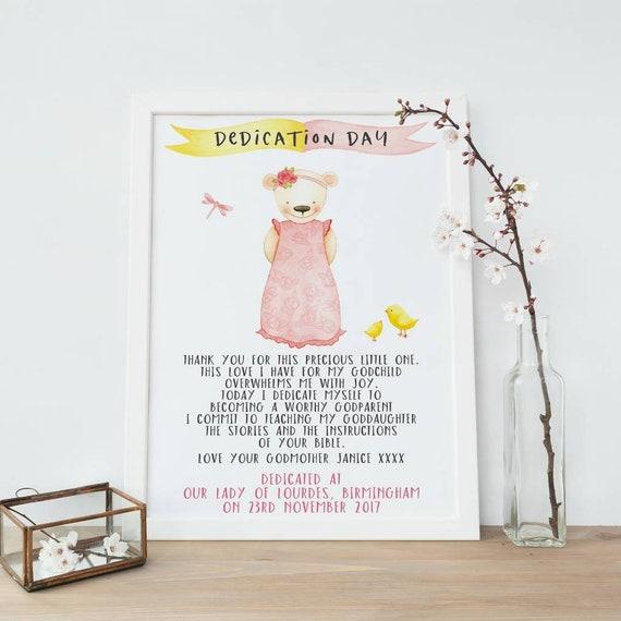 Baby Girl Christening Baptism Naming Day Gift Personalised Goddaughter Print