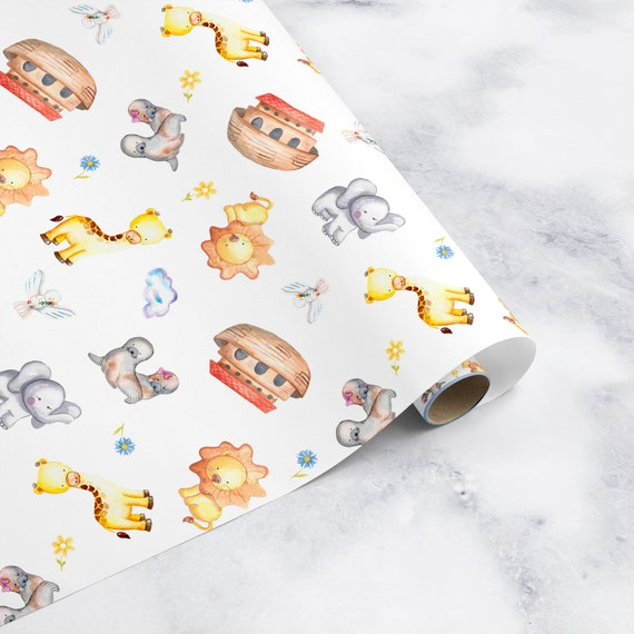 2 sheets wrapping paper gift present wrap christening design