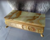 Green and Brown Marbled Onyx Cigar Box, Hinged Lid, Rests on 4 X Gold Metal Feet, Cigarettes or Gigars, Quality Interior Decor, Vintage .