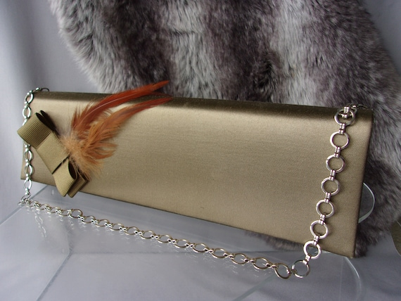 Lotus antique Gold Evening Handbag - Feathers and
