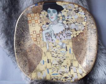 """Gustav Klimt """"Portrait der Adele Bloch- Bauer"""" Porcelain Austrian Plate, Rare 1990 Plate, Number 7456 Limited, 22 x KT Gold Paint, Vintage ."""