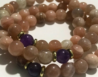 Pink Moonstone & Amethyst Bracelet
