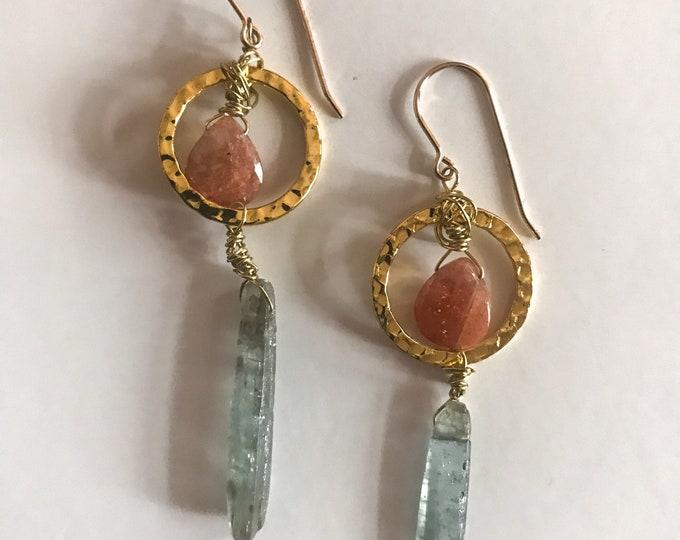 14kt Goldfill Sunstone & Kyanite Earrings