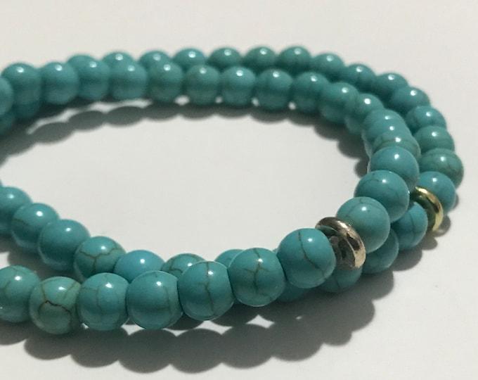 Howlite Turquoise Gemstone Stack Bracelets