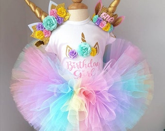 ee8280a6a Unicorn birthday outfit , baby girl birthday outfit , unicorn headband tutu  and bodysuit