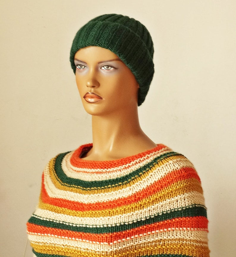Woolen Knit Cape Striped Multi-color Capelet  Poncho for Girl and Women
