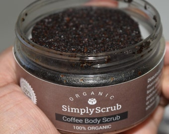 Coffee Body Scrub - Organic Body Srub 3.5oz Jar - Exfoliate Skin,  Improve Circulation,  Reduce Skin Aging