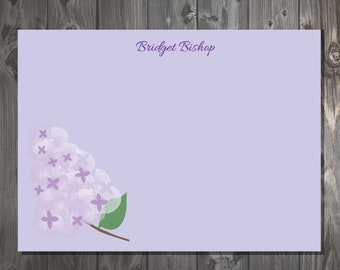 Stationery Note Cards, Personalized Correspondence Cards Lilac Purple