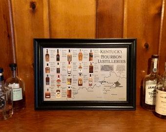 Kentucky Bourbon Print, Distilleries Map Poster for Man Cave or Bar, Gift for Bourbon or Whiskey Drinkers