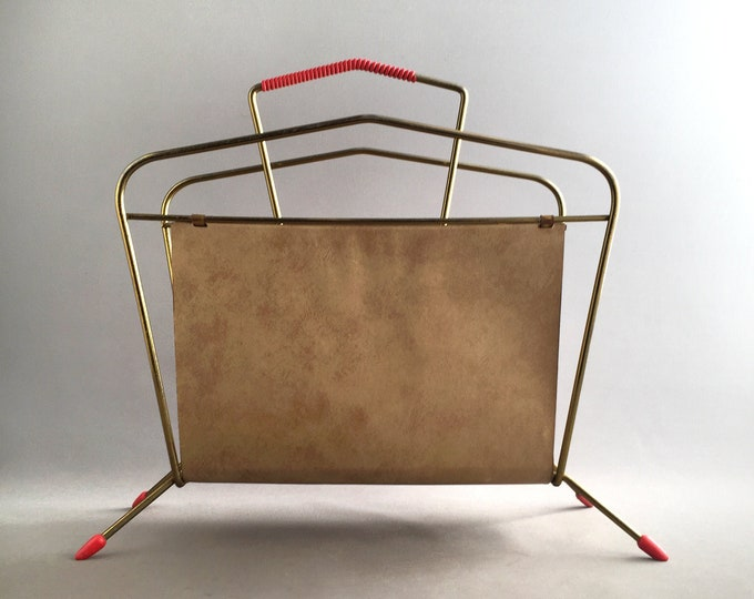 1950s brass and vinyl magazine rack