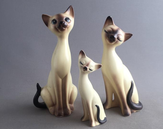 trio of siamese kitty ornaments