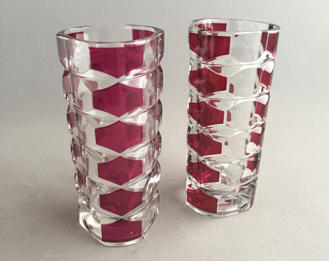 1960s pressed glass vases