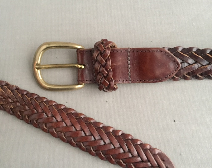 woven leather belt with brass buckle