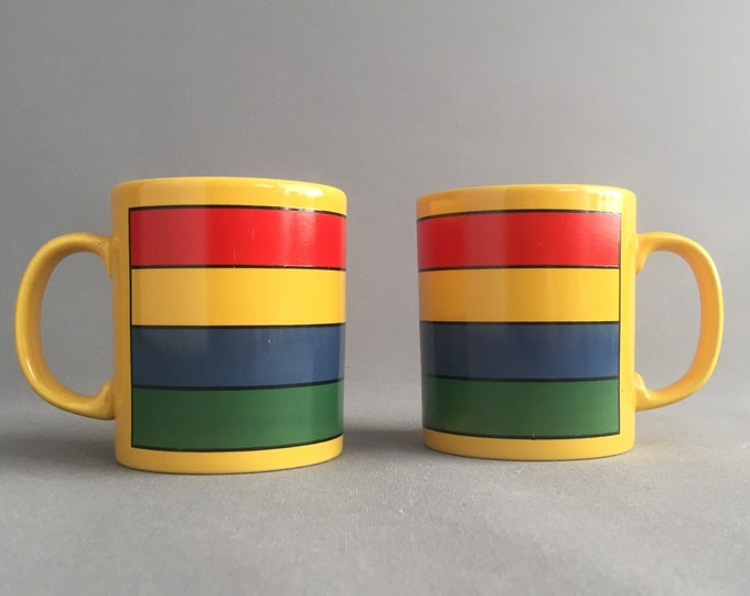 1980s staffordshire pottery mug set