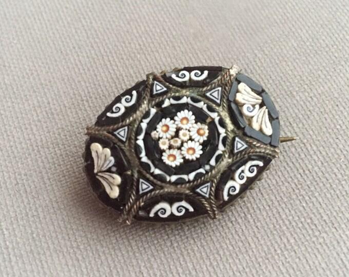 micro mosaic pin brooch