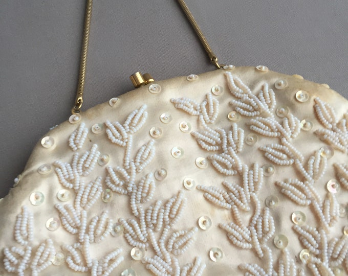 1950s satin beaded bag