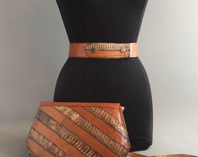1970s snake skin and leather shoulder bag with matching belt