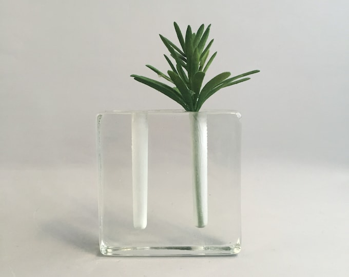 block vase glass Wiesenthalhütte 1970s cube rectangular small / mid century modern