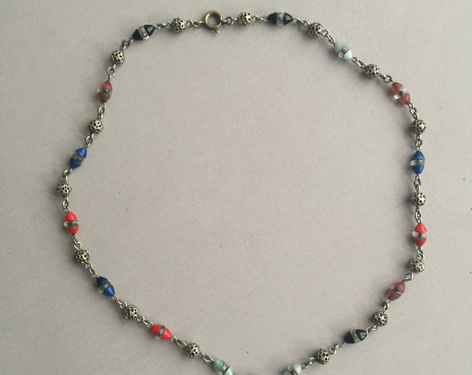 1930s glass bead and plated brass chocker