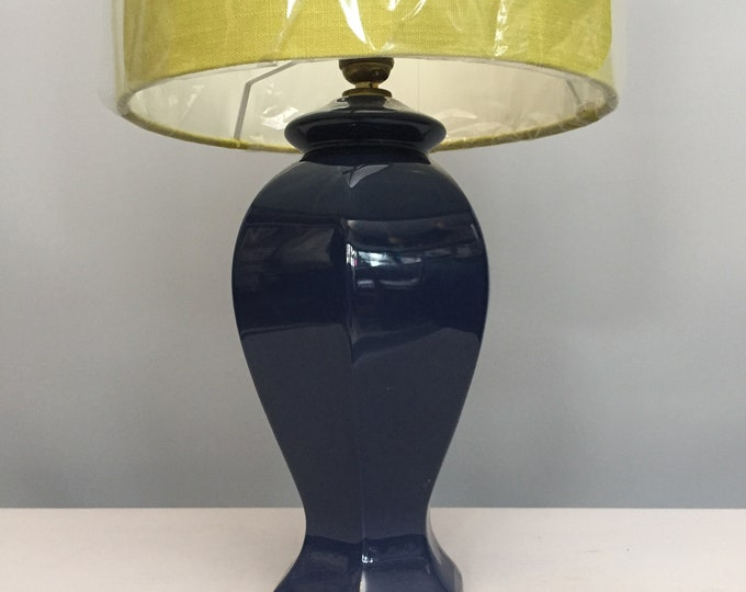 1980s ceramic lamp base and linen shade