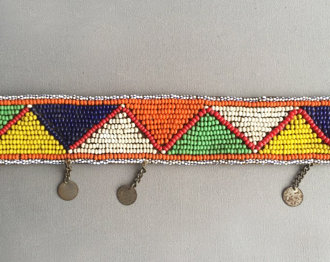 Handcrafted Maasai Masai Ethnic Tribal  Beaded Leather Belt