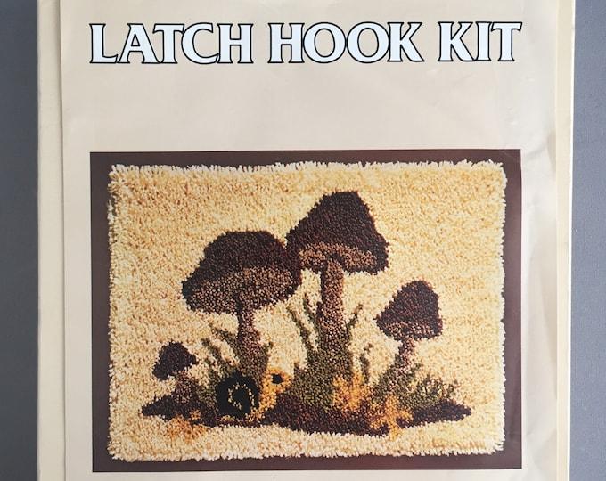 1970s mushrooms latch hook rug kit