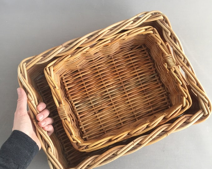 Woven willow baskets set